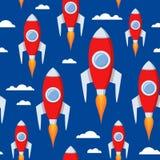 动画片太空火箭无缝的样式 免版税图库摄影