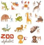 明亮的与逗人喜爱的动物的字母表集合信件 库存图片