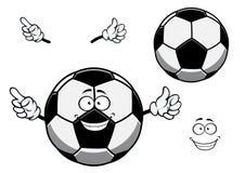 Αθλητικά κινούμενα σχέδια μασκότ ποδοσφαίρου ή σφαιρών ποδοσφαίρου Στοκ Εικόνες