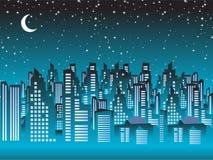 都市风景晚上剪影 库存图片