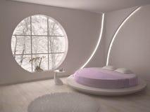 圆的窗口和床 免版税库存图片