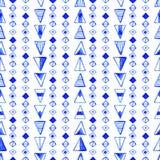 无缝的抽象水彩样式,手拉的几何背景 免版税库存图片