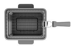在白色隔绝的现代深炸锅顶视图  免版税图库摄影