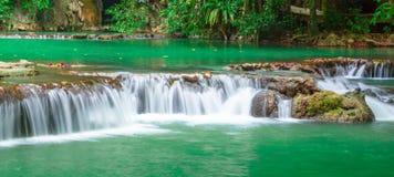 瀑布,普吉岛安达曼泰国室外摄影在雨密林林木的, 免版税图库摄影