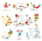 花集合逗人喜爱的花和鸟 库存图片