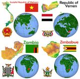 地点越南,也门,赞比亚,津巴布韦 图库摄影