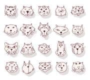 Συλλογή των εικονιδίων γατών, απεικόνιση Στοκ Εικόνα