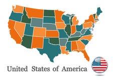 το περίγραμμα χαρτών περιγράμματος δηλώνει τις ΗΠΑ Στοκ Εικόνα