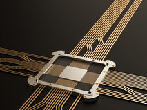 Ένας επεξεργαστής (μικροτσίπ) διασύνδεσε τη λήψη και την αποστολή των πληροφοριών κεντρικών κεντρική κυκλωμάτων μονάδα τεχνολογία Στοκ Φωτογραφία