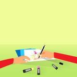 Дизайн платья эскиза притяжки модельера плоский Стоковая Фотография RF