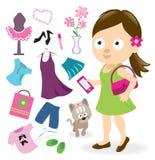 有衣裳和辅助部件的青少年的女孩 库存图片