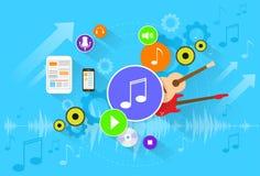 Επίπεδο καθορισμένο διάνυσμα εικονιδίων χρώματος εμβλημάτων μουσικής Στοκ εικόνες με δικαίωμα ελεύθερης χρήσης