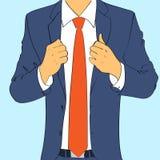 时尚衣服商人穿戴红色领带平的设计 图库摄影