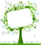 Пустая таблетка на дереве весны Стоковое фото RF