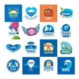 Συλλογή των διανυσματικών λογότυπων για το ταξίδι και τον τουρισμό Στοκ Φωτογραφίες