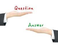 回答概念查出的问题白色 库存图片