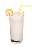 在白色隔绝的圆滑的人香蕉味道健康玻璃 图库摄影