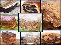与巧克力蛋糕照片的拼贴画  免版税库存图片