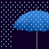Διανυσματική μπλε ομπρέλα Στοκ Φωτογραφία