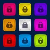 Διανυσματικό σύνολο κουμπιών με τις κλειδαριές Στοκ Εικόνες