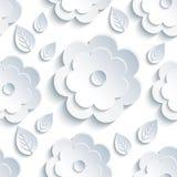 与灰色花和叶子的背景无缝的样式 库存图片