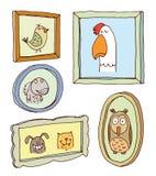 Καθορισμένα πλαίσια εικόνων με το πορτρέτο ζώων, συρμένη χέρι διανυσματική απεικόνιση Στοκ Εικόνα