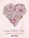 与春天的大心脏的桃红色母亲节卡片开花,传染媒介 免版税库存图片