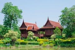 Тайская деревянная дом Стоковое фото RF