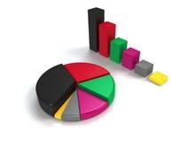 五颜六色的长条图和圆形统计图表 免版税图库摄影