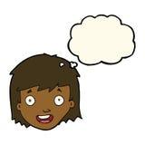 与想法泡影的动画片愉快的女性面孔 免版税库存照片