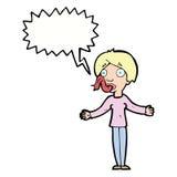 说动画片的妇女与讲话泡影的谎 免版税库存图片