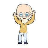 可笑的动画片被注重的秃头人 免版税库存图片