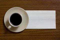咖啡餐巾 库存图片