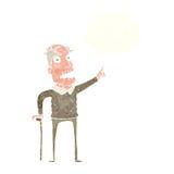 动画片老人用有想法泡影的拐棍 库存图片