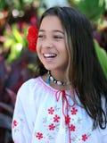 热带庭院的女孩 库存照片