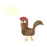 与讲话泡影的动画片鸡 图库摄影