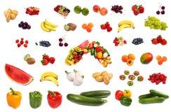 яркие различные плодоовощи установили вкусным Стоковое Изображение RF