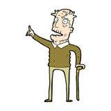 可笑的动画片老人用拐棍 库存照片