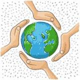 Χέρι σε όλο τον κόσμο Στοκ φωτογραφία με δικαίωμα ελεύθερης χρήσης