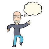 有想法泡影的动画片恼怒的老人 免版税库存照片