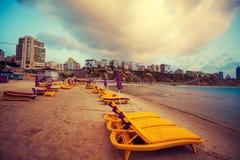 海滩在内塔尼亚 免版税库存图片