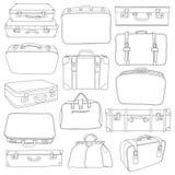 套葡萄酒手提箱-在传染媒介的设计的 免版税库存照片