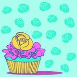 手拉的杯形蛋糕卡片邀请救球日期婚礼 免版税库存图片