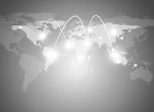 Παγκόσμιος χάρτης και υπόβαθρο επικοινωνίας Στοκ εικόνα με δικαίωμα ελεύθερης χρήσης