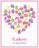 我爱蛋糕 烘烤的心形的标志 库存照片