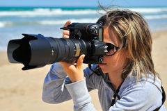 摄影师职业妇女 免版税图库摄影