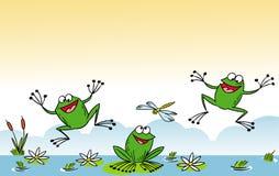 смешная лягушка шаржа Стоковые Изображения RF