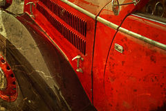 Старая открытка с одним старым автомобилем Стоковая Фотография