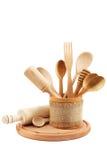 背景空白查出的厨房的器物 免版税图库摄影