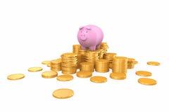 站立在金黄硬币堆的桃红色存钱罐 免版税库存图片
